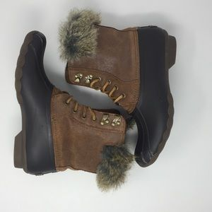 Sperry Topsider brown faux fur duck boots- 8